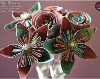 Paper Flowers - Bunch of 7 Flowers - Decor-flower with stem- Green - Red