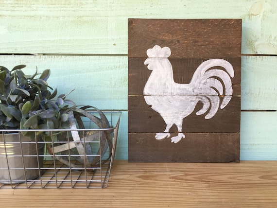 Rooster Reclaimed Wood Sign - White Rooster Wall Decor