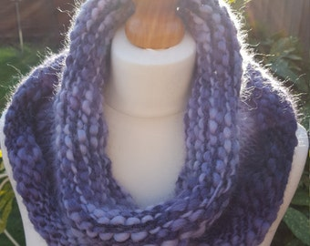 Super Chunky Merino Wool Snood, Single wrap neck warmer, violet & white colour knitted infinity scarf