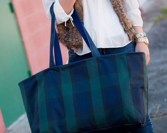 Ultimate Tote Bag, Plaid Tote,  The Ultimate Collection, Monogrammed