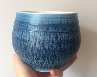 MID Century PLANTER Bristow England BLUE Vintage 1970's Teal Studio Art Pottery Plant Pot Ceramic uk