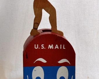 Vintage Mailbox Topper Wooden Piece for Outdoor Home Decor Project - Parts Missing - U.S. Mail Character