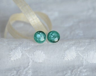 Small turquoise blue dot earrings, light blue dots stud earrings, hand painted little studs, sterling silver stud earrings
