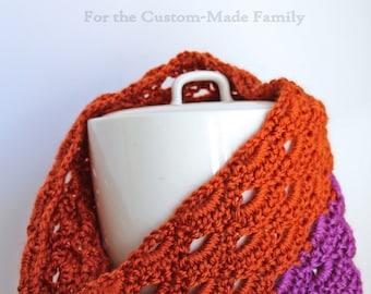 Lacy Cowl, Scarf, Neck Warmer, Crochet Arch Stitch, Orange and Purple