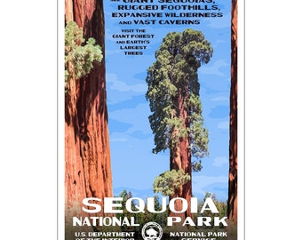 Sequoia National Park poster, created in the WPA style, 13x19, Original artwork signed by the artist.