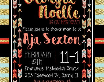 Tribal Arrow Baby Shower Party Invitation (DIGITAL COPY)
