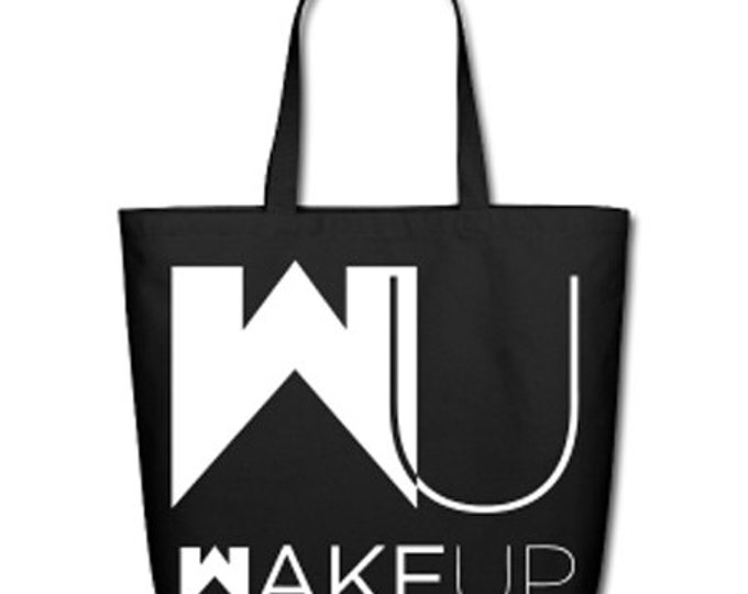 Wake Up / Stay Woke Natural Cotton Canvas Tote - Black/White Lettering