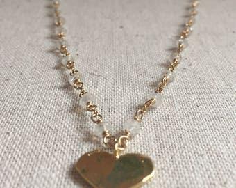 Moonstone gemstone gold heart charm necklace
