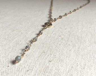 Labradorite gemstone gold lariat necklace with a cubic zirconia charm