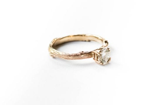 Forever one moissanite 14k gold twig engagement ring