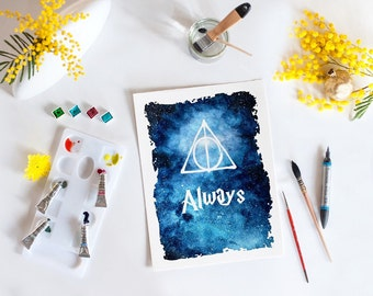 Harry potter inspired. After all this time? Always, Stars, watercolor print, galaxy, space, wall art, art print, home decor, watercolor art,