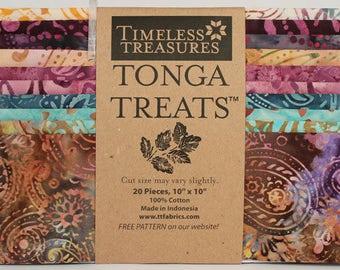 "Zanzibar Batik Fabric 10"" Squares; 20 Pieces; Tonga Treats Shortcake; Timeless Treasures; Precut Fabric; Tonga Zanzibar"