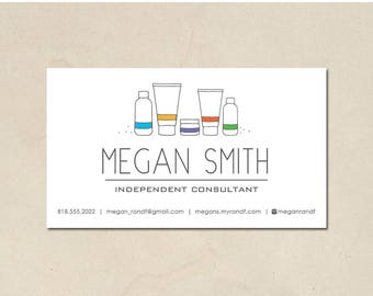printable - skin care business cards - mommy calling cards - hand illustrated bottles - personalized - small business - DIY