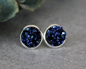 Navy Blue Stud Earrings, Dark Blue Stud Earrings, Blue Druzy Earrings, Blue Post Earrings, Navy Blue Earrings, Dark Blue Earrings 10MM