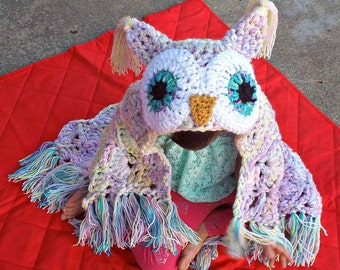 Owl blanket, crochet hooded owl blanket, handmade owl blanket, hooded owl blanket, fox, bear, wolf, Unicorn blanket MJs Off the Hook pattern