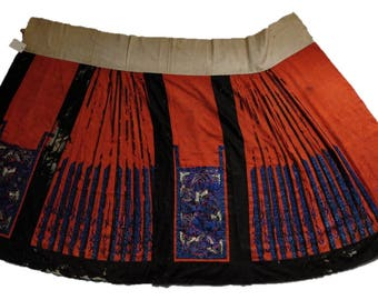 Antique Chinese embroidered wedding skirt, Qing dynasty, 1800s, red with stunning butterfly embroidery