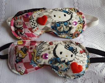 Hello Kitty Sleeping Mask - A soft eye mask with a lolita style kawaii Kitty & Alice in Wonderland Theme