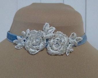 Blue velvet and ivory lace choker/headpiece