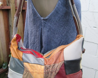 Patchwork Leather Hobo Burgundy Multi Color Bag Purse Slouch Tote Handbag Satchel 1970s 70s Vintage Large Hecho en Mexico Hippie Boho