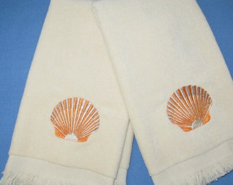 EMBROIDERED SEASHELLS.Tip Towels.Scallop Seashells.Guest Towels Velour Towels.Orange/Silver Seashell Towels.Bathroom Towels.Towel Gift