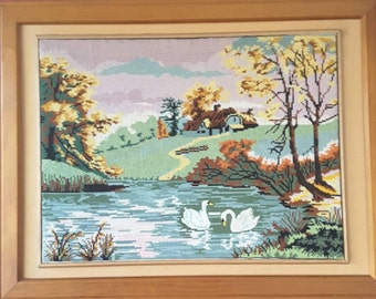 Sweet Vintage Framed Tapestry  Swans in lake