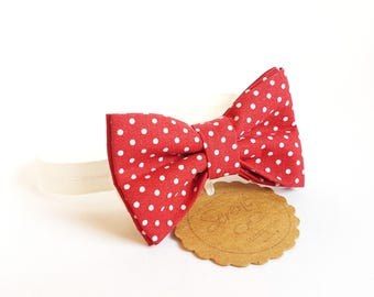 Child red bow tie with white polka dots, polka dot bow tie, baby bow tie,gift ideas, cotton bow tie