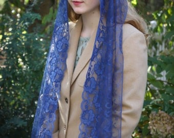 Evintage Veils~ Our Lady Royal Blue Chanilly Lace  Vintage Inspired Lace Scarf Chapel Veil Mantilla