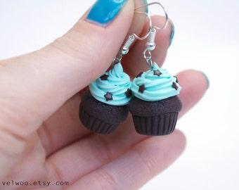 Mint Cupcake earrings, Rockabilly Rockabella Modern Pin Up, food jewelry, Miniature food jewelry, cupcake jewelry, chocolate star velwoo