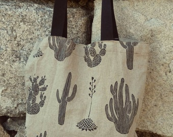 Cactus printed Linen tote bag / Natural linen soft fabric used
