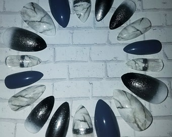 Silver Marble Stiletto Nails- Fake Nails- False Nails- Press on Nails- Glue on Nails-Marble Nails-Artificial Nails-Faux Nails- Matte Nails