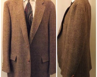 Vintage 70s Brown Harris Tweed Houndstooth Sport Coat Size 42 R