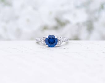 Art Deco Engagement Ring - Vintage Inspired Ring - Antique Style - Sapphire Blue -  Round Cut Solitaire Ring - 1.2 Carat - Sterling Silver