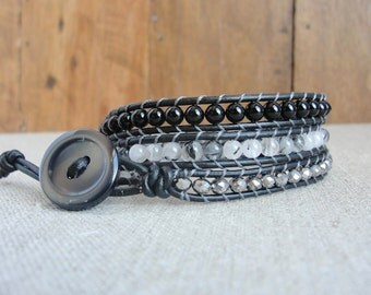 Black and White Leather Wrap Bracelet - Leather Bracelet - Beaded Wrap Bracelet - Beaded Leather Bracelet - Silver - Multi Wrap - Stackable