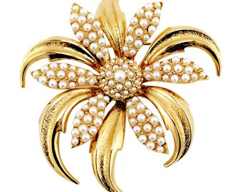 Big Vintage Boucher Flower Brooch With Faux Pearls