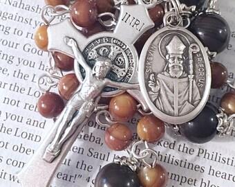 Saint Kevin Rosary Catholic Rosaries Silver Rosary Mary Rosary St Kevin Rosary Confirmation Gift Rosary Brown Rosary