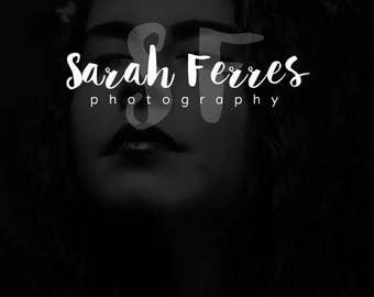 SALE Photography Logo Calligraphy Logo, Cursive Premade Logo Design, Initials Logo, Watercolor Brush Style, Pretty Logo, Sarah Logo