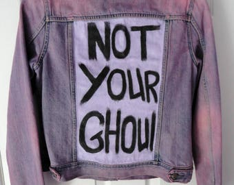Not Your Ghoul! pink denim jacket