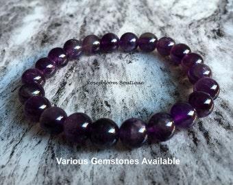 8mm Grade AB Amethyst Dark Purple Bracelet-Gemstone Bracelet-Purple Stone Bracelet-Birthstone Bracelet-Natural Genuine Amethyst Gemstone