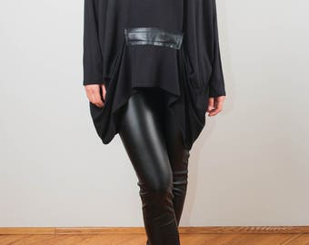 black tunic/ oversized tunic/ faux leather tunic/ Long Sleeves Tunic Top