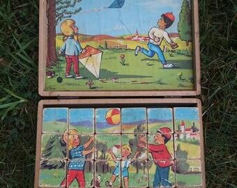 Old beautiful wooden blocks/puzzle set