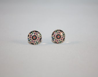 Glass Stud Earrings - Hypo-Allergenic Surgical Steel