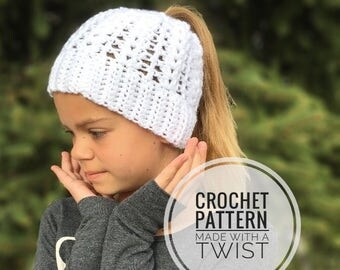 Spring Ponytail Hat CROCHET PATTERN - Messy Bun Hat Pattern - Bun Beanie Crochet Pattern - Ponytail Beanie Pattern - Easter Hat Pattern