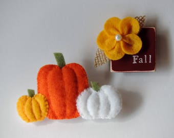 Fall Magnet Set Felt Pumpkins Fall Decor Pumpkin Magnet Pumpkin Decor Fall Decorations Fridge Magnets Felt Magnet Wooden Magnet Autumn Decor