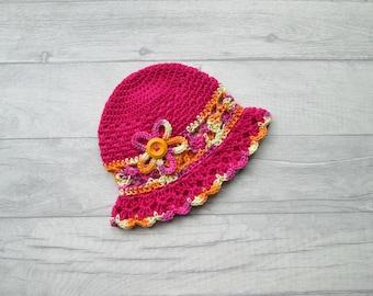 Baby sun hat, 6m, summer sunhat, cotton sunhat, handmade sun hat, floral sun hat, crocheted hat, pink hat, baby girls sun hat, Summer Fun
