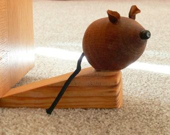 Blind Mice Door Stop / Wedge - Made From Mahogany and Ash Hardwoods - Ideal Gift