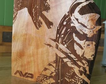 Alien Vs Predator / AVP Wood Etching on Cherry.