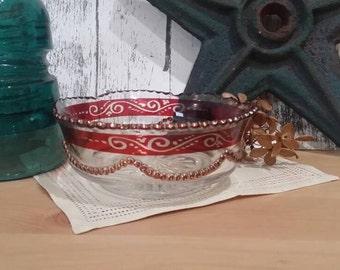 Antique 1890s-1900 Ruby Flash EAPG Candy Dish Bowl Ruffled Rim