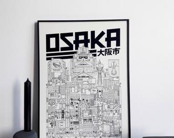 Osaka - series illustration * Travel With Me *. Black and white. 32 x 45 cm