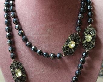 Heidi Daus Art Deco Hematite, Swarovski Crystal Necklace/Designer Art Deco Necklace/Art Deco Beaded Necklace
