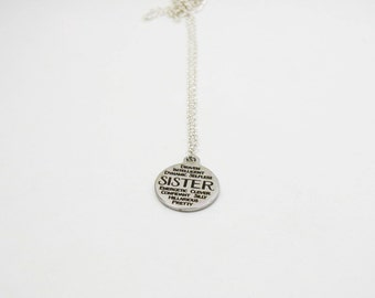 Silver Sister Necklace - Sis Necklace - Sister Gift - Stainless Steel Charm - Sister Jewelry - Sister Charm Necklace - Inspirational Jewelry